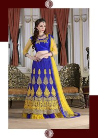 Multi Embroidered Net Semi-Stitched Lehenga Choli