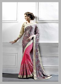 Embroidered Georgette Saree (Pink,Grey,Multi)