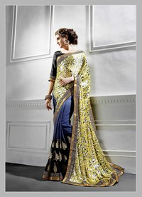 Embroidered Georgette And Brasso Half And Half Saree (Blue,Black,Yellow)