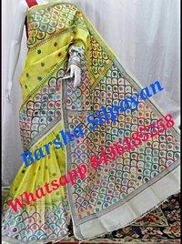 Tussar Dye Silk Kantha Stitch Saree
