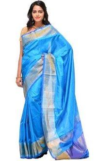 Blue Silk Handloom Plain Saree