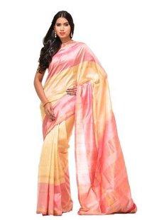 Cream Uppada Silk Handloom Plain Saree