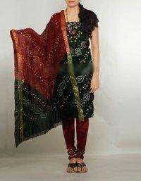 Unnati Silks Pure Bandhani Satin Cotton Ladies Unstitched Punjabi Suit