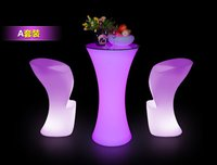 Color Changing LED Bar Table With Chair