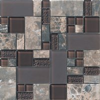 Glass Mix Marble Mosaic Tiles (STX9802)