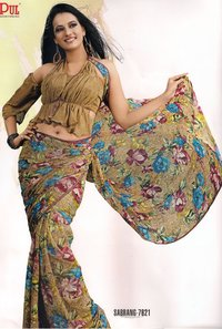 Beautifully Designed Printed Georgette Saree