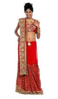 Bright Red Colored Saree