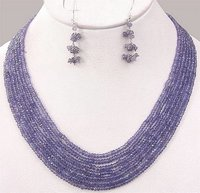 7 Strand Tanzanite Necklace With 925 Silver Emerald, Ruby And Sapphire Clasp