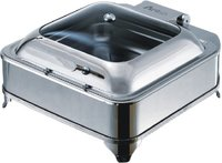 Square Glass Lid Chafer With Stand And Electric Heaters