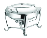 Round Glass Lid Induction Chafer With Fuel Burner Stand