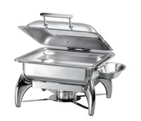 Square Glass Lid Chafer With Fuel Burner