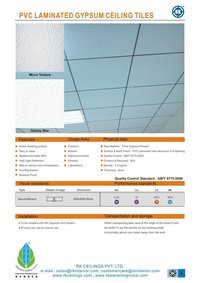 Pvc Gypsum Laminated Tiles