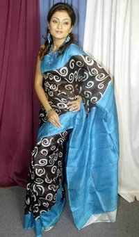 Printed Silk Blue Sarees
