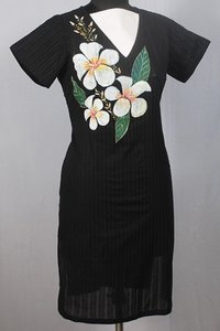 Beautiful Hand Painted Flower Black Kurti