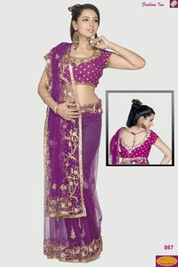 Hand Embroidered Saree With Choli