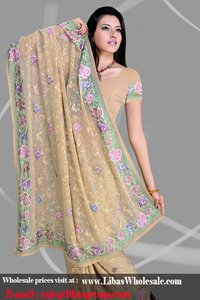 Cute Faun Colored Georgette Saree