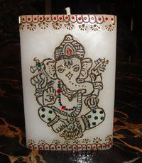 Large Rectangular Candle With Ganeshji