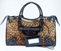 Brown Leopard Leather Horse Hair Patent Bag