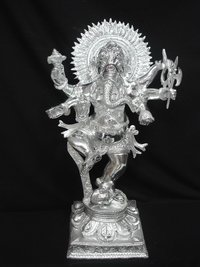 White Metal Ganesh Dancing