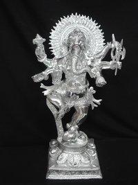 White Metal Ganesh Dancing