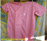 Patient Gown-Pink Checked