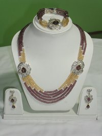 Kunzite Precious Stones Necklace Set