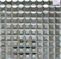 Beveled Mirror Glass Mosaic Gray Color For Club Disco Ktv Decoration