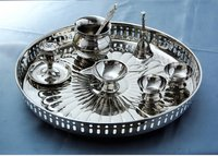 Brass Pooja Set In Nickle Finish