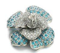 Titanium Pendant Blue Flower