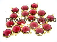 Gold Plated Sterling Silver Necklace stud Ruby Round 15 mm