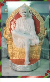 Marble Statue Of Sai Baba With Singhasan