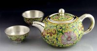 Enamel Crafts Silver Tea Set