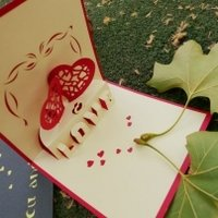 Two Hearts - Valentine Handmade Pop-up Greeting Cards