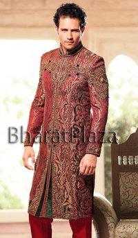 Maroon Wedding Sherwani