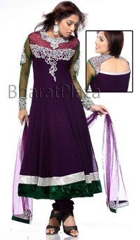 Stunning Dark Purple Kalidar Suit
