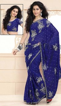 Amazing Royal Blue Chiffon Saree