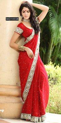 Appealing Reddish Maroon Sari