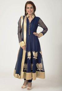 Stitched Blue Chiffon Net Suits