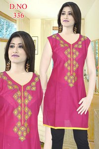 Silk Kurti With Embroidery
