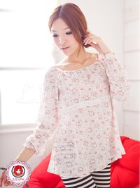 Sweet Round Neck Flower-Patterned Long-Sleeved Cotton Pajamas (Pink)