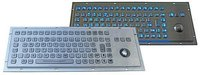 Ip65 Industrial Backlight Metal Keyboard With Function Keys And Trackball