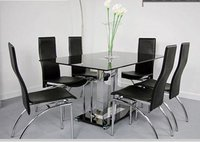 Steel and Glass Material Artificial Leather Table with 6 Chairs