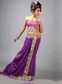 Purple Pure Georgette Saree With Blouse
