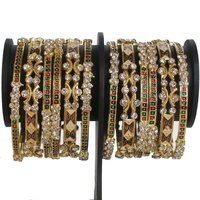 Diamantes And Mina Work Bangles Set