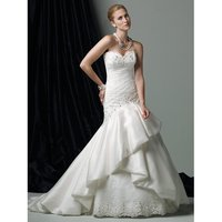 Strapless Lace And Silk Organza A-Line Gown Wedding Party Dress
