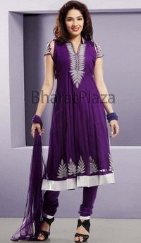 Party Wear Purple Churidar Suit