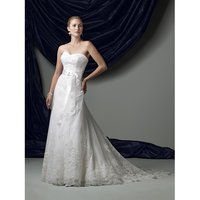 Strapless Illusion And Lace A-Line Gown Wit Softly Curved Neckline Wedding Dress