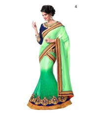 Fancy Green Lehenga Style Saree