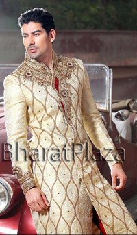 Luxurious Golden Cream Sherwani