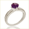 925 Sterling Silver Amethyst & White Topaz Halo Ring
